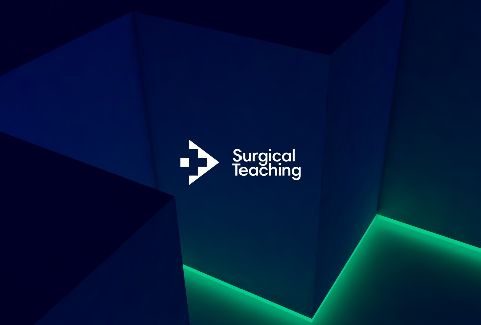 surgical teaching logo with 3d background